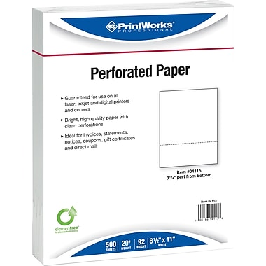 Printworks® Professional 8 1/2in. x 11in. 20 lbs. Perforated 3 1/4in. Paper, 2500/Case