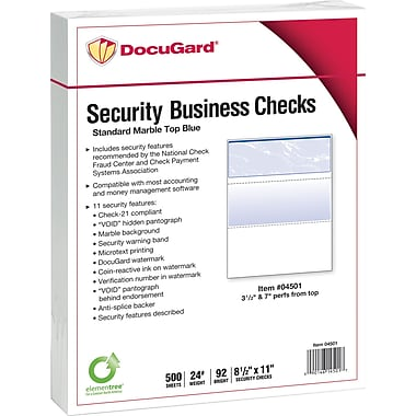 Paris DocuGard® 8 1/2in. x 11in. 24 lbs. Standard Security Business Top Check Paper, Blue, 2500/Case