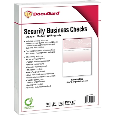 Paris DocuGard® 8 1/2in. x 11in. 24 lbs. Standard Security Business Top Check Paper, Burgundy, 2500/Case
