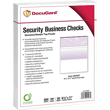 Paris DocuGard® 8 1/2in. x 11in. 24 lbs. Standard Security Business Top Check Paper, Purple, 2500/Case