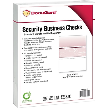 Paris DocuGard® 8 1/2in.x11in. 24 lbs. Standard Security Business Middle Check Paper,Burgundy,2500/Case