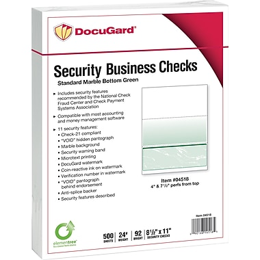 Paris DocuGard® 8 1/2in. x 11in. 24 lbs. Standard Security Business Bottom Check Paper, Green, 2500/Case