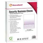 "Paris DocuGard® 8 1/2"" x 11"" 24 lbs. Standard Security Business Bottom Check Paper,Purple,2500/Case"