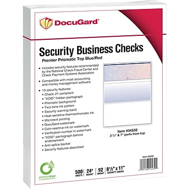 Paris DocuGard® 8 1/2in. x 11in. 24 lbs. Standard Security Business Top Check Paper, Blue/Red, 2500/Case