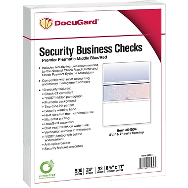 Paris DocuGard® 8 1/2in.x11in. 24 lbs. Standard Security Business Middle Check Paper,Blue/Red,2500/Case