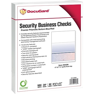 Paris DocuGard® 8 1/2in.x11in. 24 lbs. Standard Security Business Bottom Check Paper,Blue/Red,2500/Case
