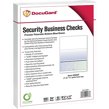 Paris DocuGard® 8 1/2in.x11in. 24lbs. Standard Security Business Bottom Check Paper,Blue/Green,2500/Case