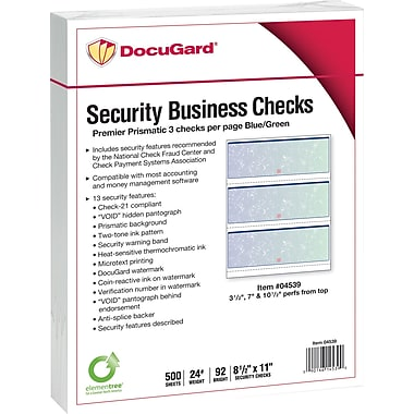 DocuGard® Standard Security Business Middle Check, 8 1/2in. x 11in., Blue/Green Prismatic, 2500 Sheets