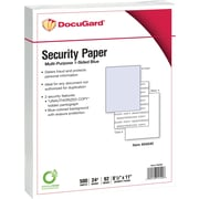 "DocuGard® 24 lbs. Standard 2 Features Multi-Purpose Security Paper, 8 1/2"" x 11"", Blue, 2500 Sheets"