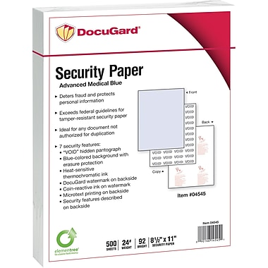 Paris DocuGard® 8 1/2in. x 11in. 24 lbs. Medical Security Paper, Blue, 2500/Case