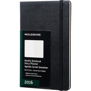 Moleskine 2016 Weekly Planner, 12M, Large, Black, Hard Cover (5 x 8.25)
