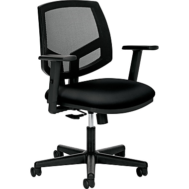 HON Volt Mid-Back Fabric Task Chair, Adjustable Arms, Black