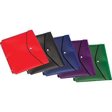 Cardinal® Assorted Letter-Size Dual Pocket Snap Envelopes with Holes, 5/Pack