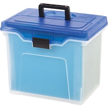 Staples® Handy File Box, Letter Size, Clear w/Blue Lid