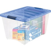 IRIS® 54 Quart Stack & Pull Modular Box, Clear with Navy Lid (100242)