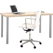 """i3 by Bestar 1.75"""" Table with metal legs in Northern Maple and Sandstone"""