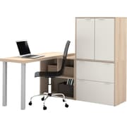 i3 by Bestar L-Shaped desk Northern Maple/Sandstone