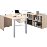 Bestar i3 U- Shaped desk in Northern Maple and Sandstone