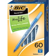 BIC® Round Stic® Ballpoint Pens, Medium Point, Blue, 60/Box (16699/13161)