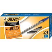 BIC® Cristal® Ballpoint Stick Pens, Bold Point, Blue, 24/Box