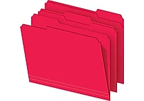 Staples Colored File Folders, 3-Tab, Letter , Red, 100/Box