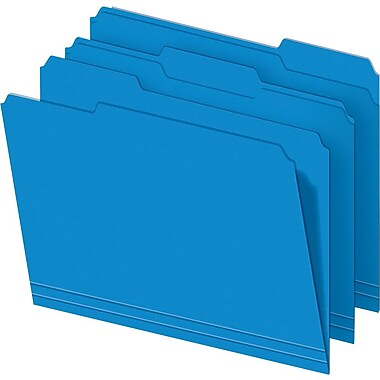 Staples® Colored File Folders, Letter, 3 Tab, Blue, 100/Box