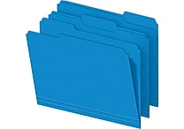 Staples Colored File Folders, 3-Tab, Letter, Blue, 100/Box