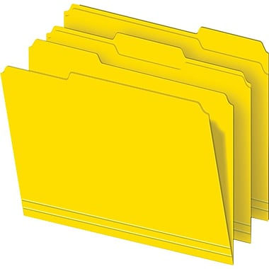 Staples Colored File Folders, 3-Tab, Letter, Yellow, 100/Box