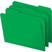 Staples Colored 3-Tab File Folders, Letter, Green, 100/Box
