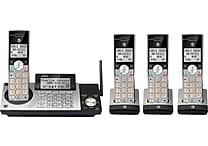 AT&T CL83415 DECT 6.0 Expandable Cordless Phone with Answering System and Caller ID, Silver/Black with 4 Handsets