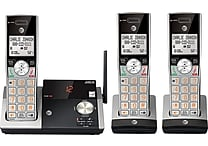 AT&T CL82315 DECT 6.0 Expandable Cordless Phone with Answering System and Caller ID, Silver/Black with 3 Handsets