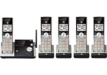 AT&T CL82515 DECT 6.0 Expandable Cordless Phone with Answering System and Caller ID/Call Waiting, Silver/Black, 5 Handsets