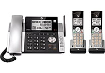 AT&T CL84215 DECT 6.0 Expandable Corded/Cordless Phone with Caller ID and Answering System, Silver/Black, 2 Handsets