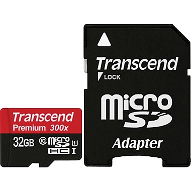 Transcend® Premium 32GB microSDHC (Micro Secure Digital High-Capacity) Class 10 Flash Memory Card