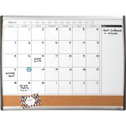 "Staples® Magnetic Combination Calendar Board, Dry-Erase & Cork, 1-Month Design, Black/Silver Frame, 17"" x 23"""