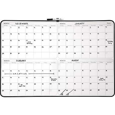 Staples® 4-Month Dry-Erase Planner Board, Black Frame, 23