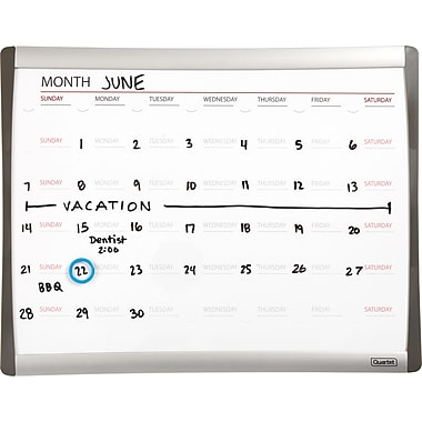 Staples® Magnetic Dry-Erase Calendar Board, 1-Month Design, Black/Silver Frame, 11