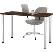 """Bestar 24"""" x 48"""" Table with round metal legs in Chocolate"""