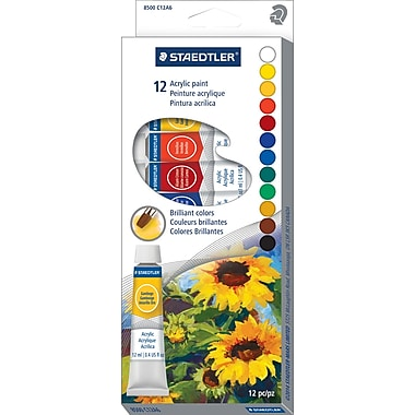 Staedtler Acrylic Paints, Assorted, 12/Pack