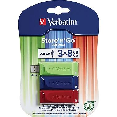 Verbatim® - Clé USB Store 'n' Go de 8 Go, paq./3