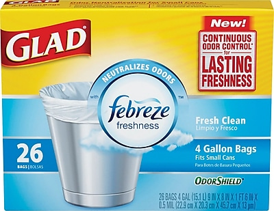 Glad OdorShield Trash Bags Fresh Clean White 4 Gallon 26 Bags Box