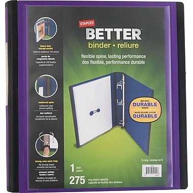 Staples® – Reliure Better Binder, 1 po, violet