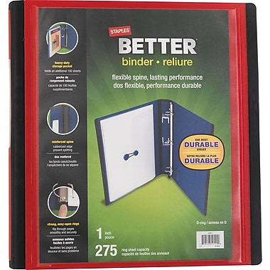 Staples® - Reliure Better Binder, 1 po, rouge