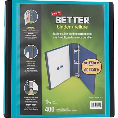 Staples® – Reliure Better Binder, 1 1/2 po, sarcelle