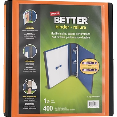 Staples® - Reliure Better Binder, 1 1/2 po, orange