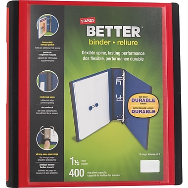 Staples® - Reliure Better Binder, 1 1/2 po, rouge