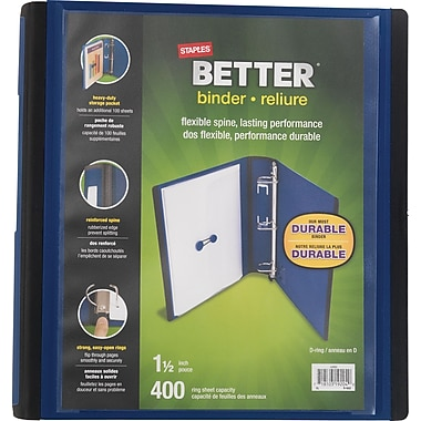 Staples® - Reliure Better Binder, 1 1/2 po, bleu