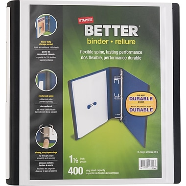 Staples® – Reliure Better Binder, 1 1/2 po, blanc
