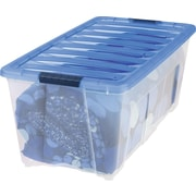 IRIS® 83.7 Quart Stack & Pull Modular Box, Clear with Navy Lid (150282)