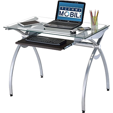 Techni Mobili Glass Top Computer Desk